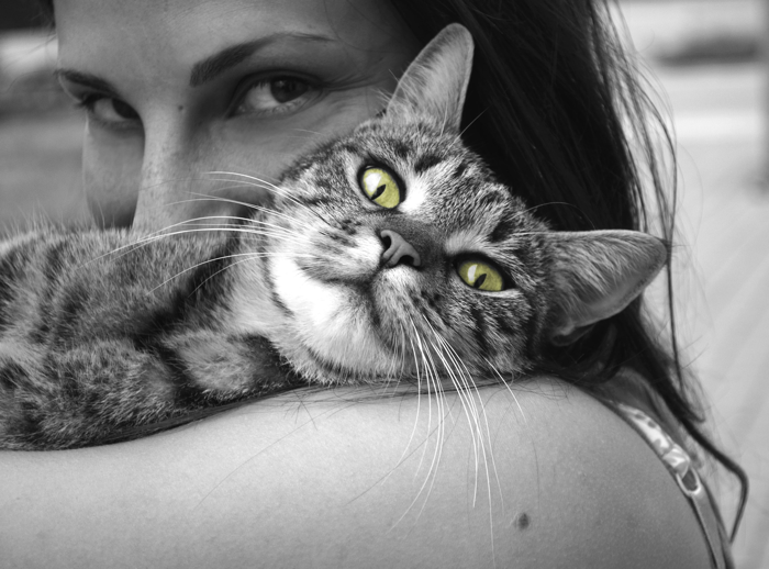 Cat hug, green eyes b:w